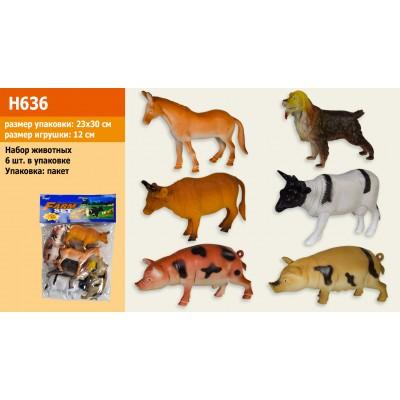 Животные рез. домашние, 6штук в пакете 23см Н636