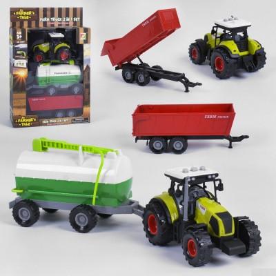 Трактор инерц.,животные в приц, под слюдой 37*10*12см FB17-3