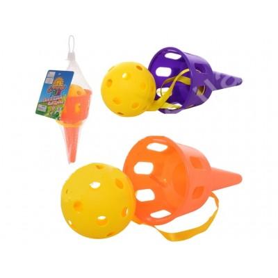 Игра-ловушка, 2 мячика7см, в сетке16см, М5999
